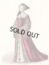 フランスセレブファッション「Fille d'Honneur de Marie d'Angleterre」、1827年作、